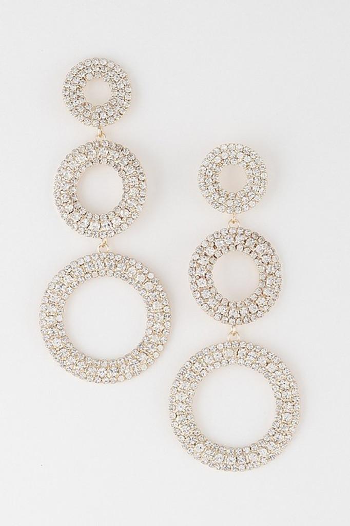 Alana Gold Rhinestone Rings Drop Earrings
