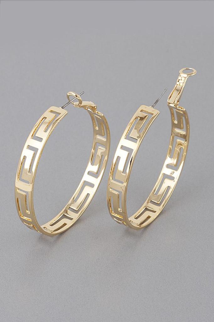 Helena Gold Patterned Hoop Earrings