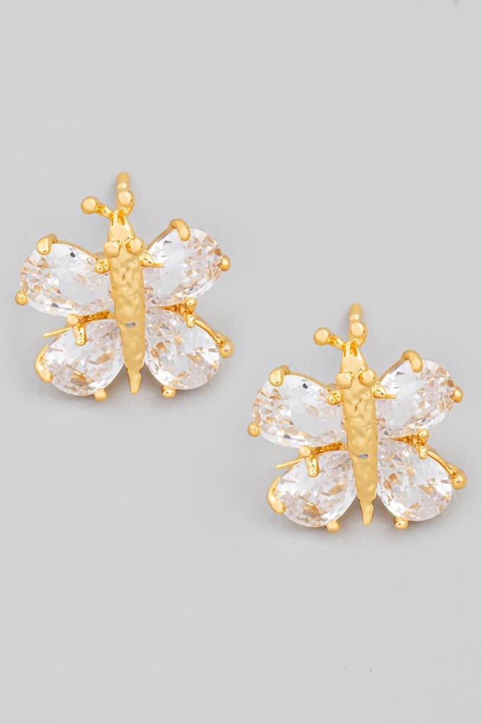 Jackie Gold Mini Rhinestone Bee Stud Earrings