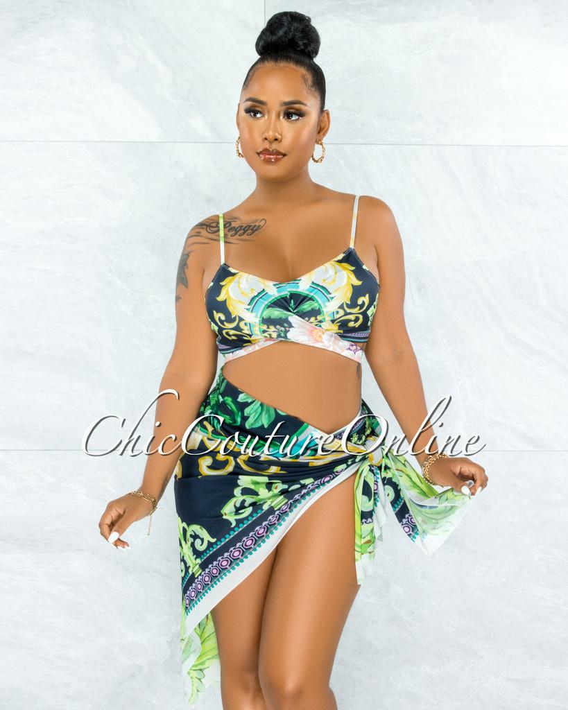 Cedric Navy Blue Green Print Pareo Three Piece Set Swimsuit