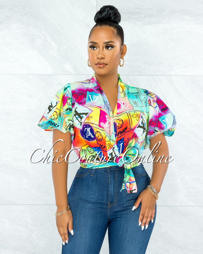 Cathal Multi Neon Print Front Tie Bubble Sleeves Blouse