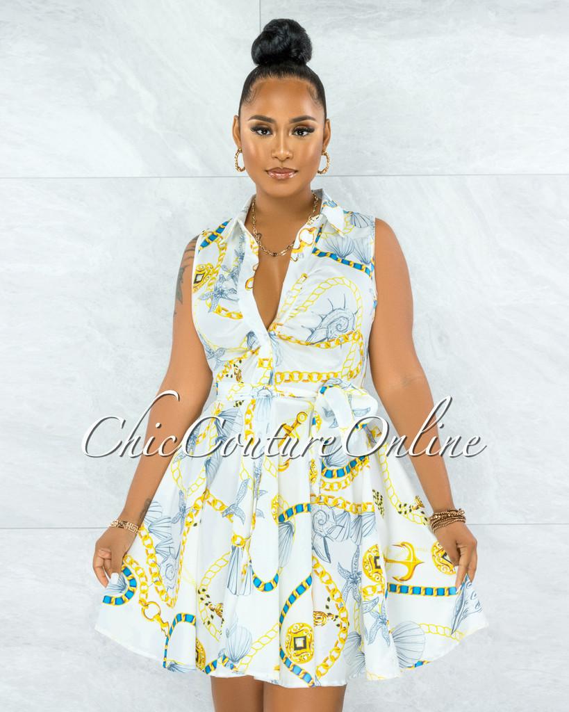 Ayman White Gold Shell Print Buttons Drape Shirt Dress