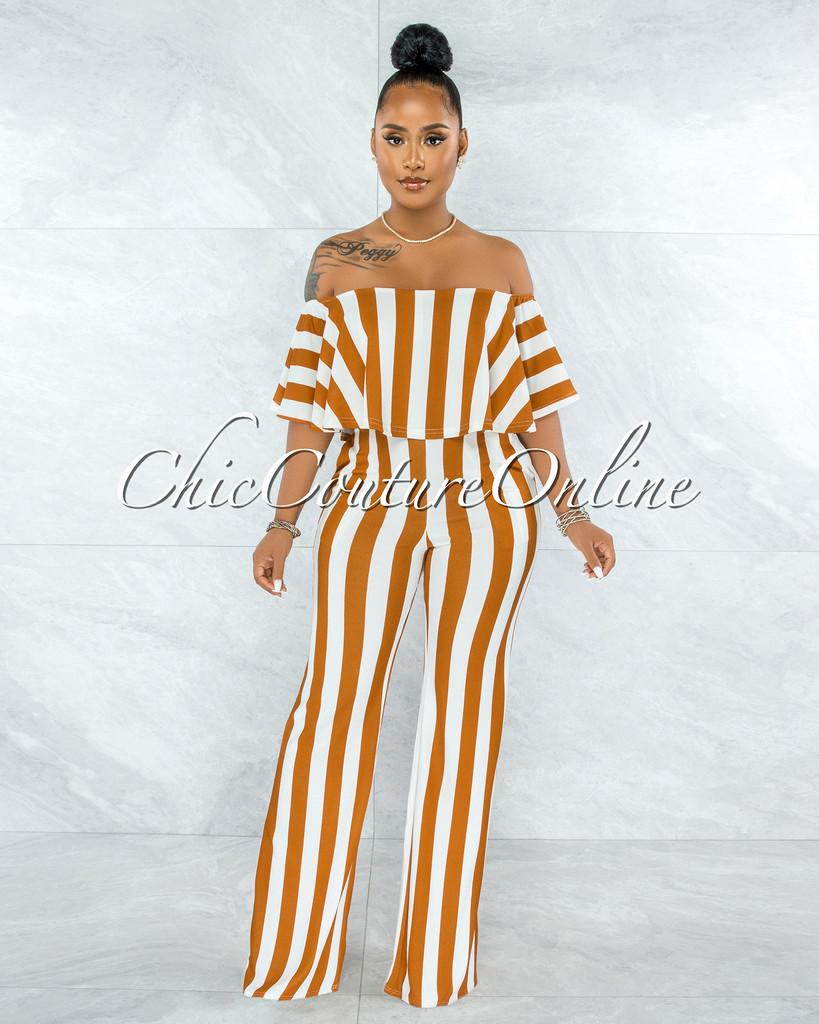 Masalda Camel White Stripes Ruffle Off-The Shoulder Jumpsuit