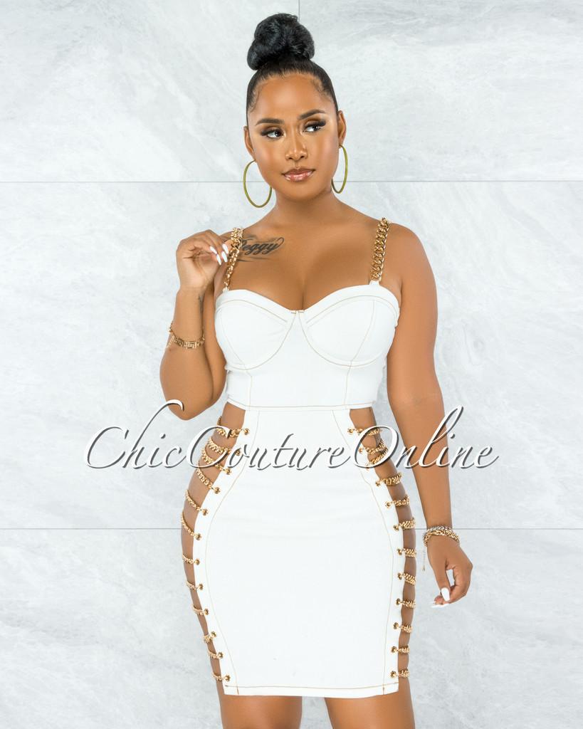 Idelle Off-White Denim Gold Link Lace-Up Sides Dress