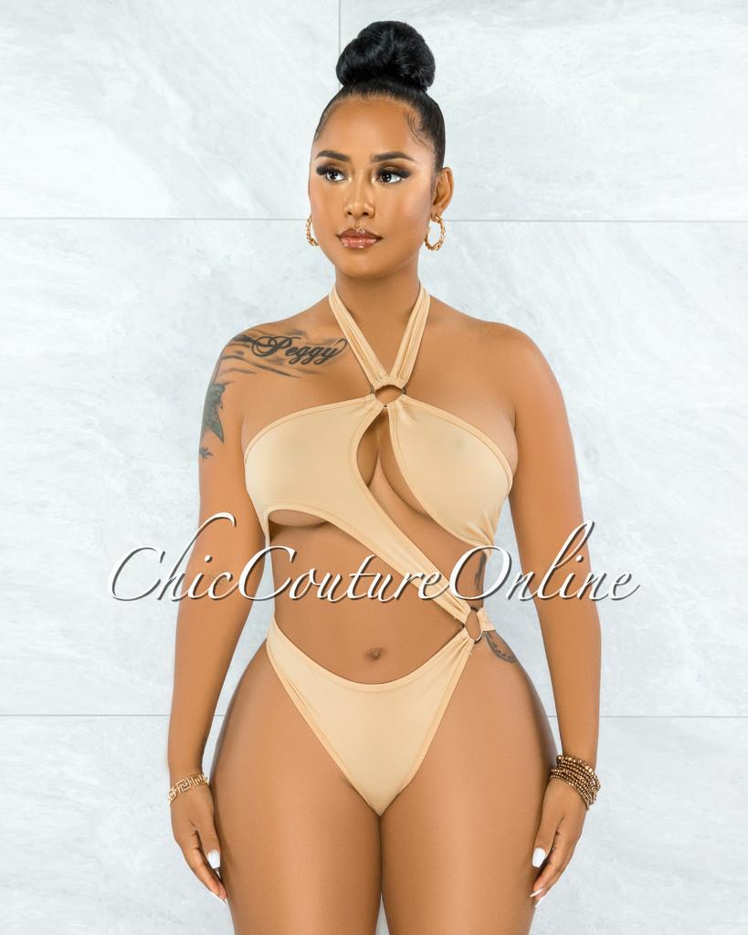 Cafice Nude O-Ring  Halter Swimsuit & Maxi Skirt Set