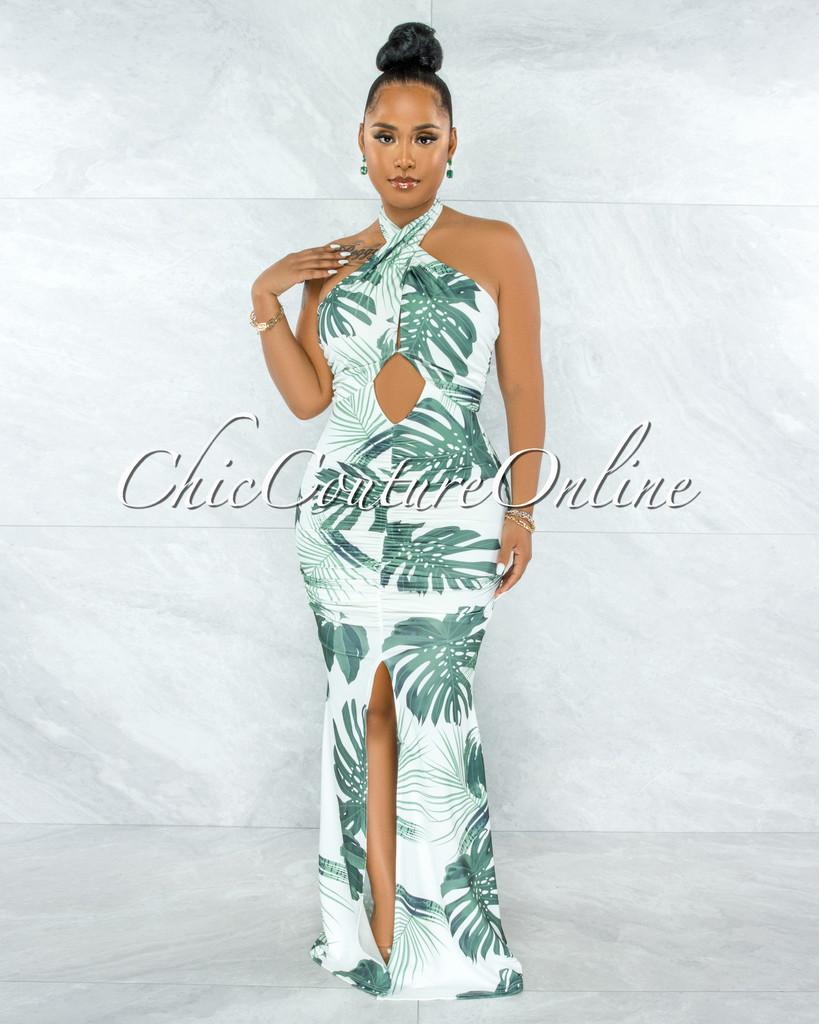 Charlotte White Green Leaf Print Front Ruched Slit Maxi Dress