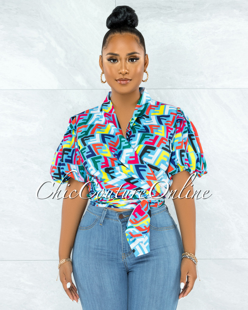 Breck Turquoise Multi Print Front Tie Bubble Sleeves Blouse