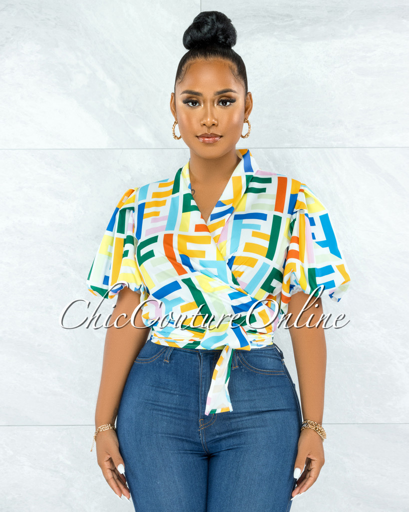 Genet White Multi-Color Print Front Tie Bubble Sleeves Blouse
