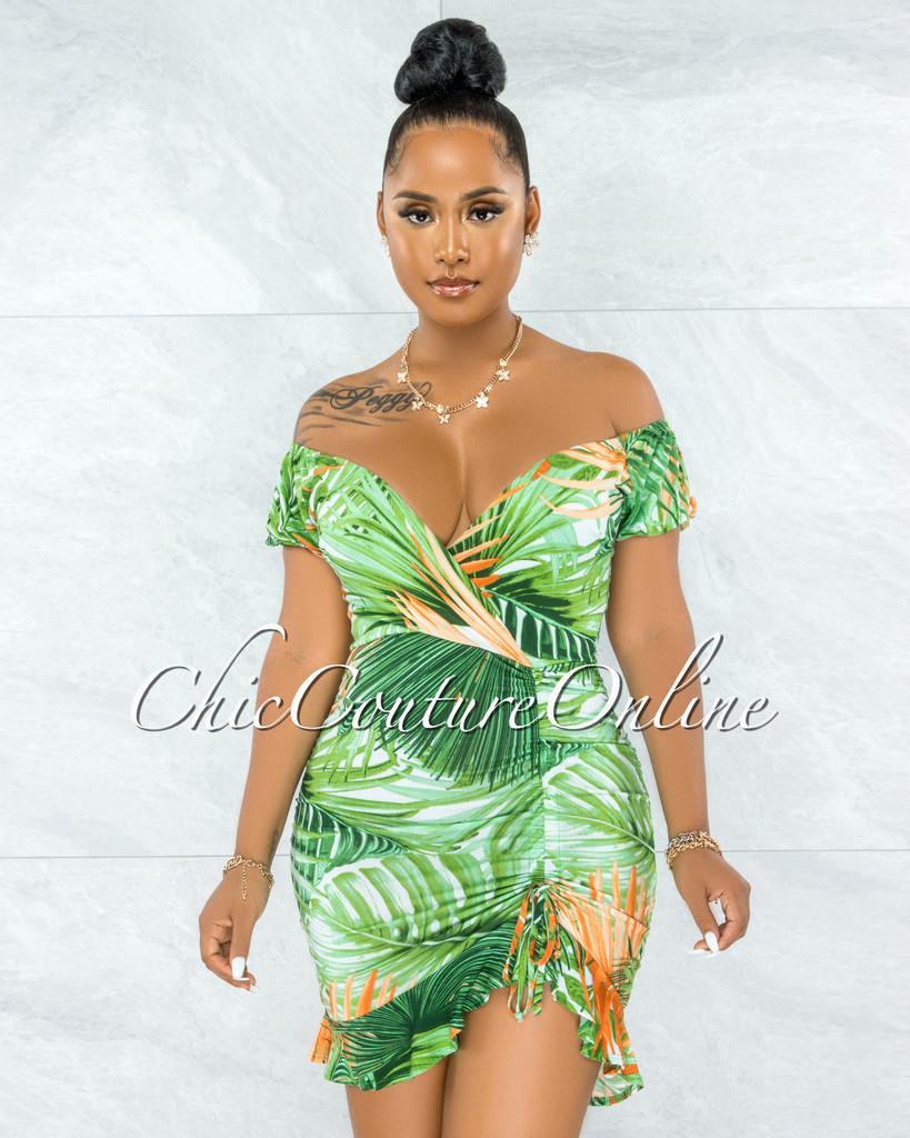 Edrian Green Orange Leaf Print Ruched Side Mini Dress