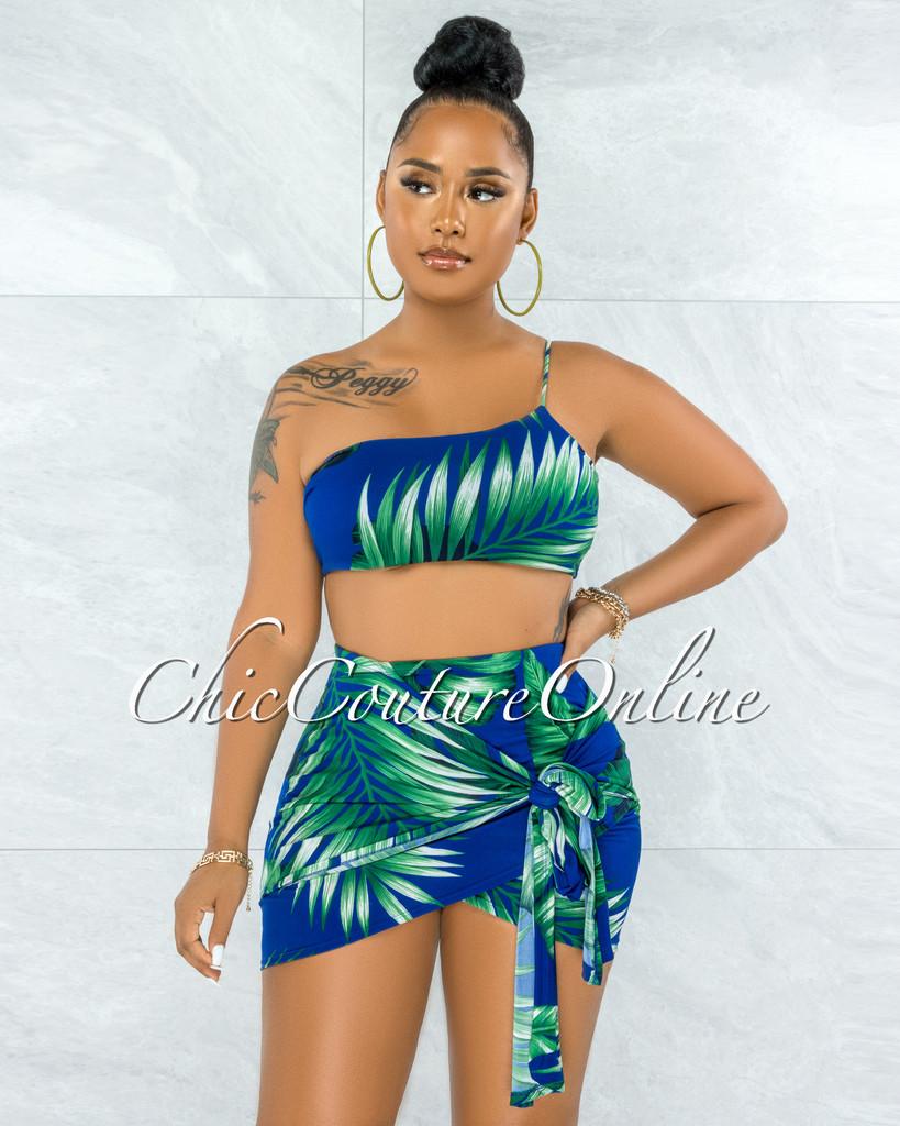 Alvaro Royal Blue Green Palm Print Two Piece Skirt Set