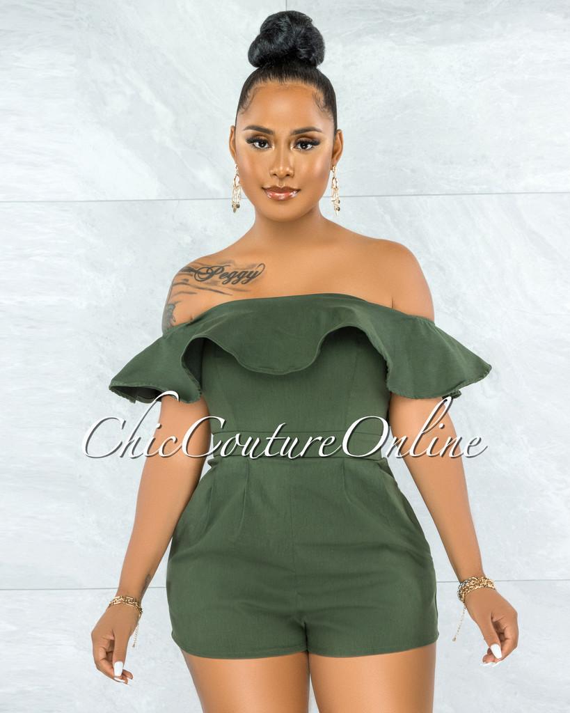 Farina Olive Green Off-The Shoulder Ruffle Denim Romper