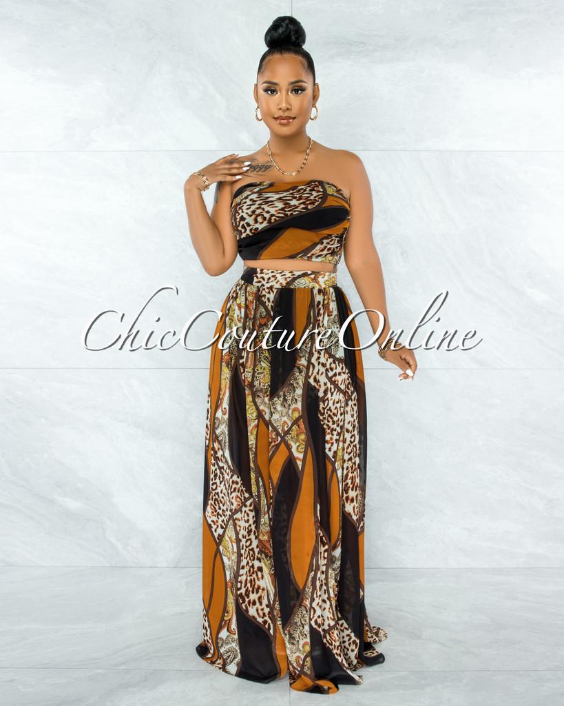 Aries Camel Brown Leopard Print Crop Top & Maxi Skirt Set