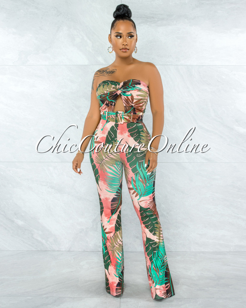 Lexie Brown Salmon Leaf Print Front Cut-Out Belted Jumpsuit