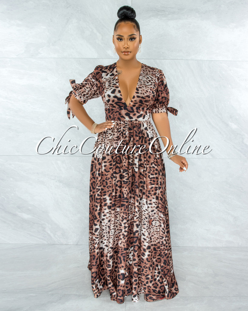 Aisley Leopard Print Bubble Tie Sleeves Bodysuit Maxi Dress
