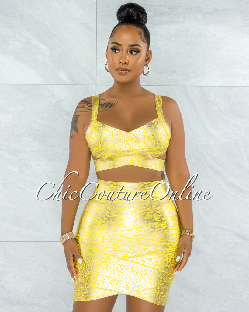 Chica Yellow Silver Foil Bandage Two Piece Set