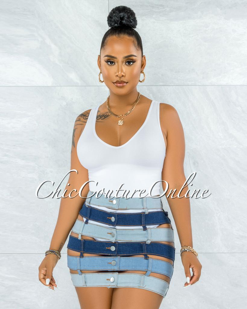 Melinda Blue Denim Waistbands Mini Skirt