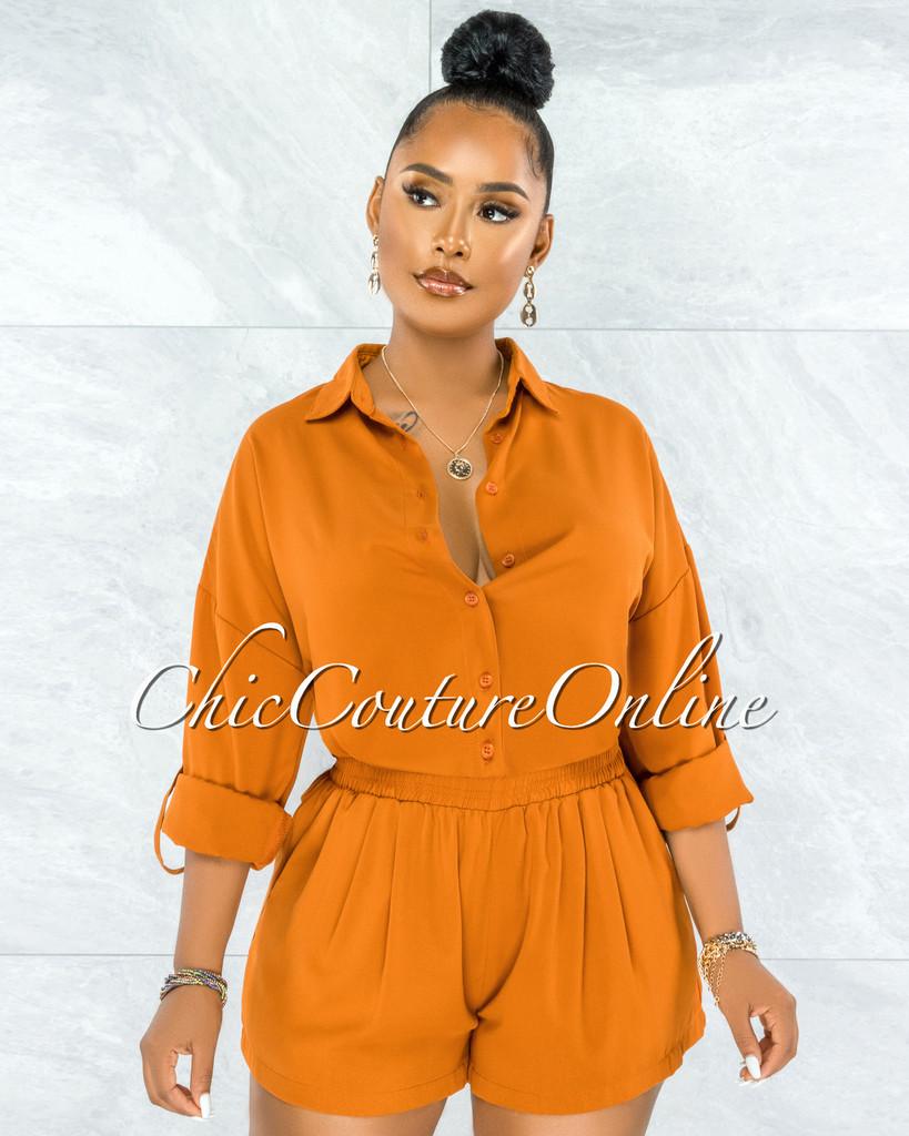 Amelina Camel Buttoned Blouse & Shorts Set