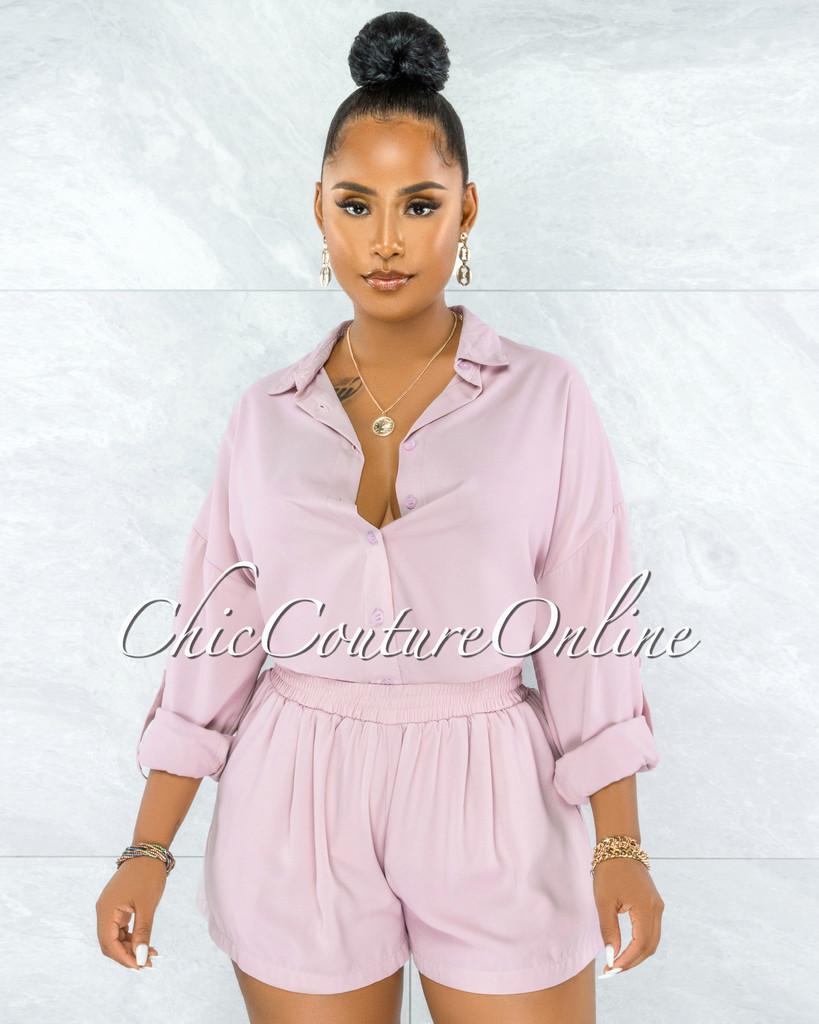 Amelina Mauve Buttoned Blouse & Shorts Set