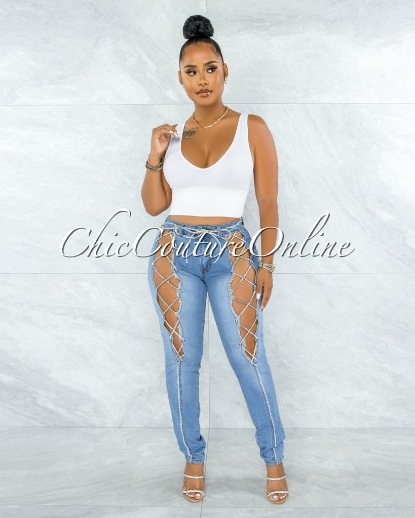 Baruch Light Denim Rhinestones Lace-Up Jeans