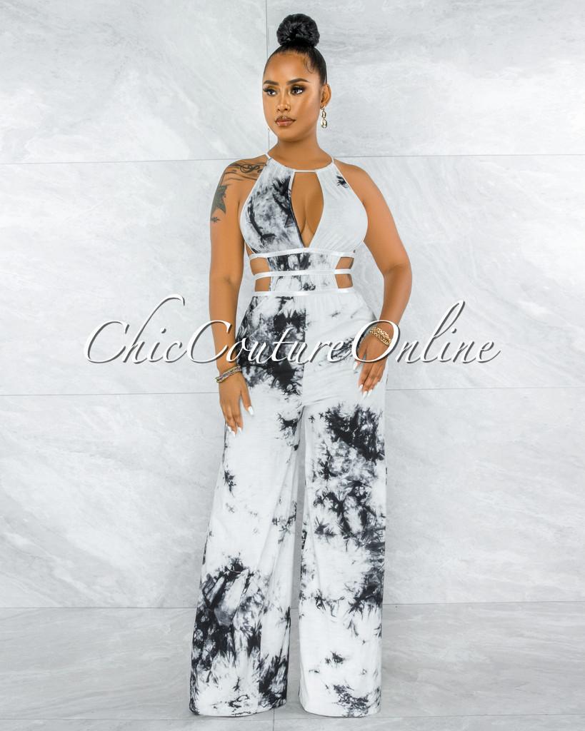Hancock  White Black Print Cut Out Strappy Sides Jumpsuit