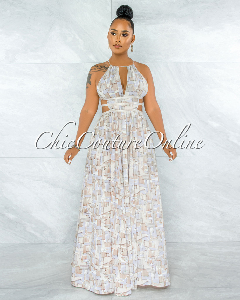 Jethra Cream Lavender Cut-Out Strappy Sides Maxi Dress