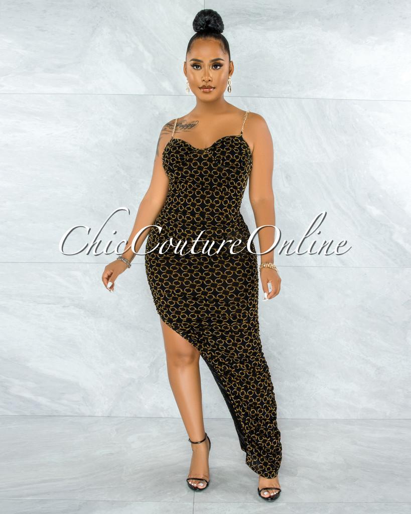 Pyera Black Gold Print Ruched Slit Gold Links Straps Maxi Dress