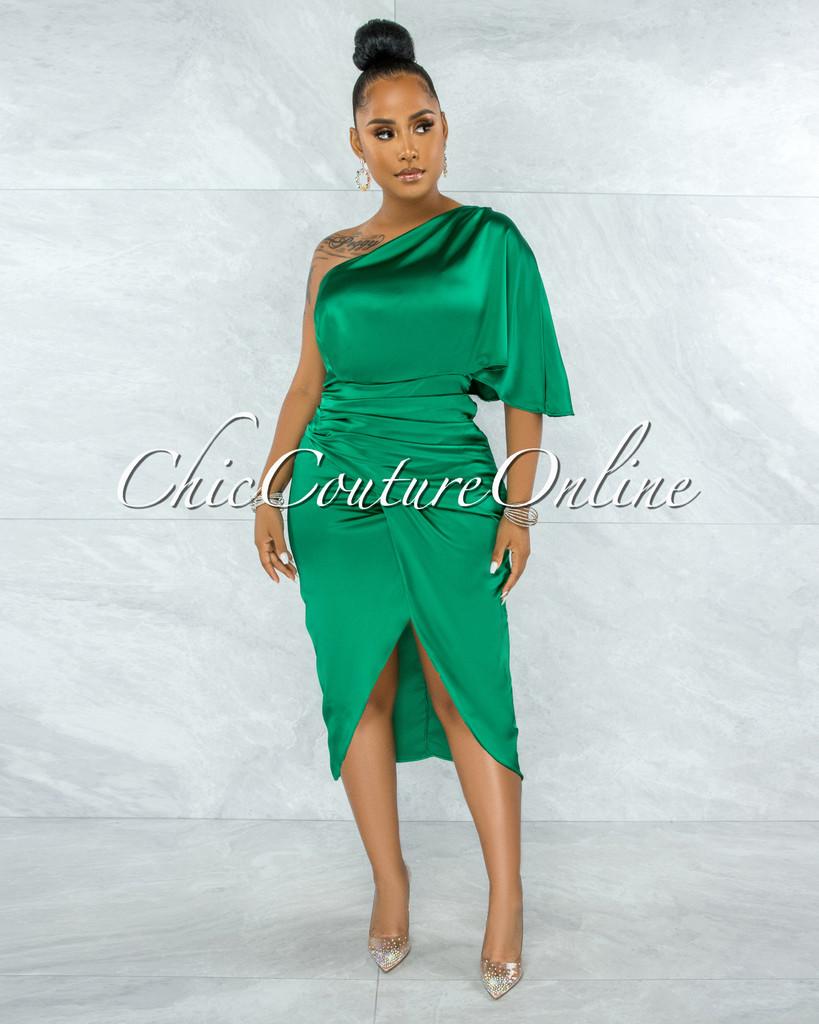Babette Kelly Green Draped Single Shoulder Midi Dress