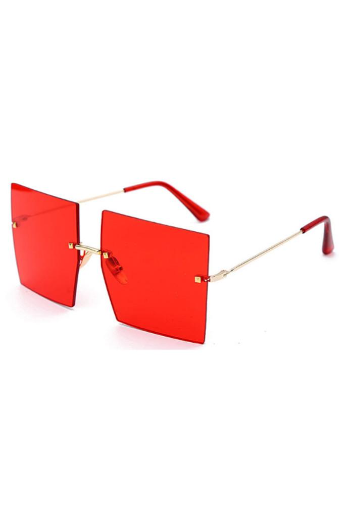 Addie Red Oversized Frameless Sunglasses
