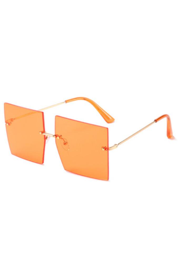Addie Orange Oversized Frameless Sunglasses