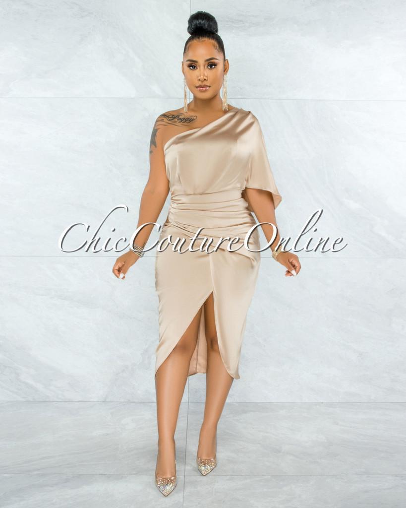 Babette Champagne Draped Single Shoulder Midi Dress