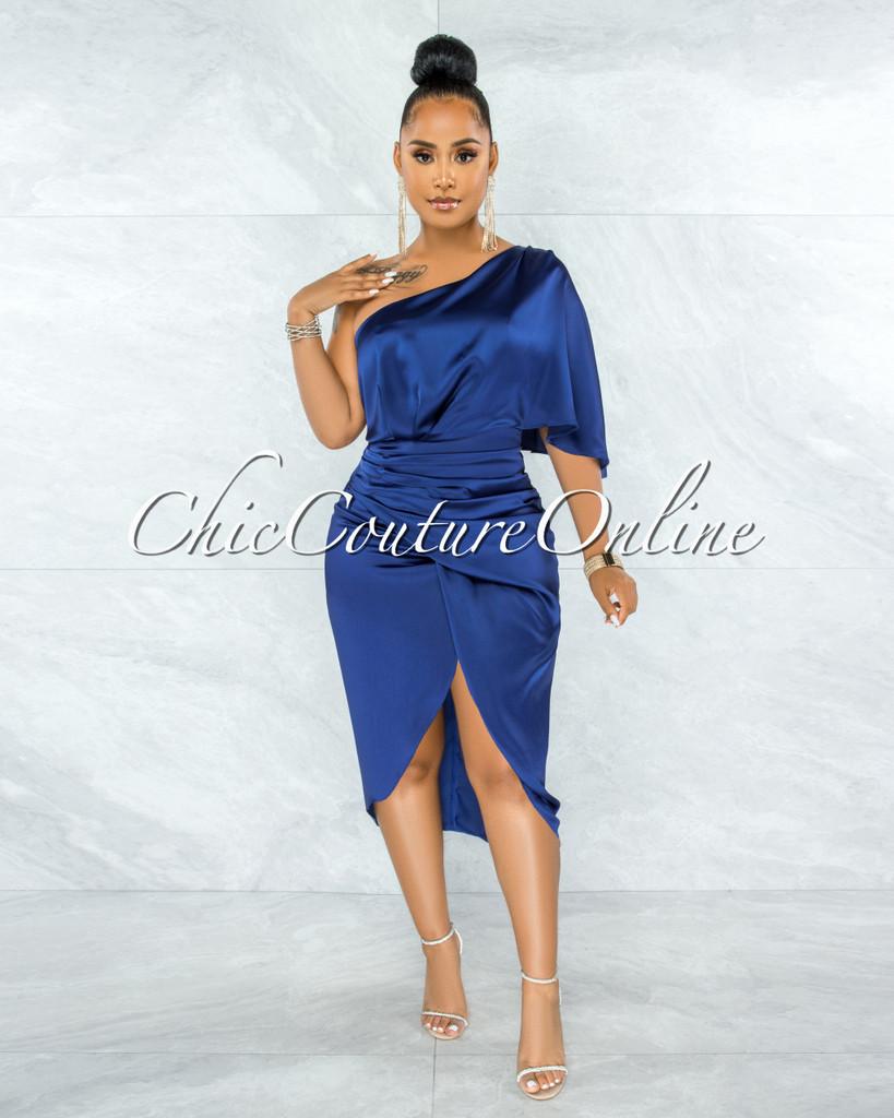 Babette Blue Draped Single Shoulder Midi Dress