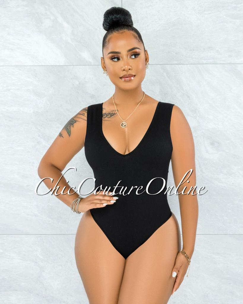 Inaya Black V-Back Ribbed Body-Con Bodysuit