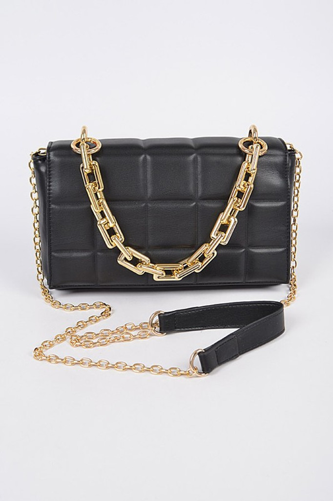 Chloe Black Square Quilted Cross Body Bag
