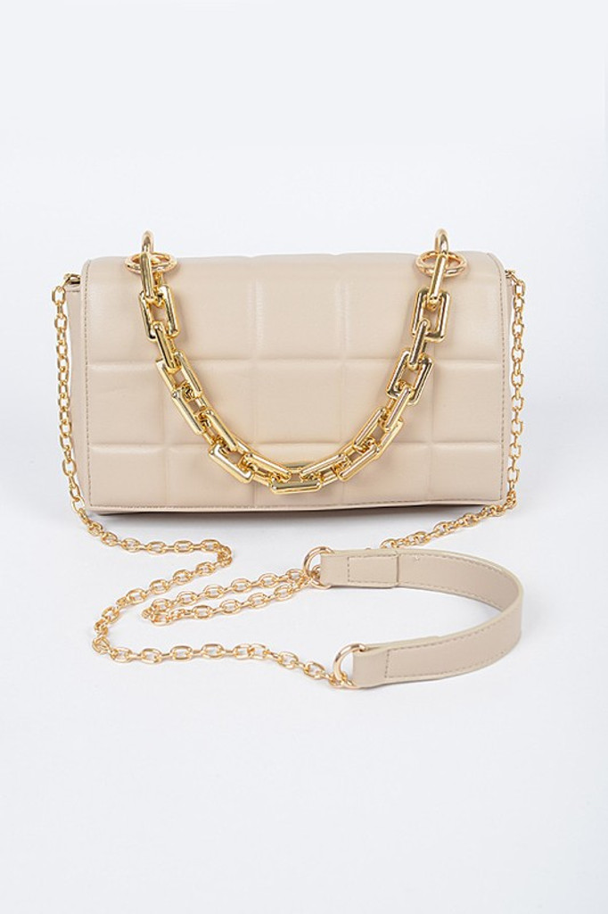 Chloe Nude Square Quilted Cross Body Bag