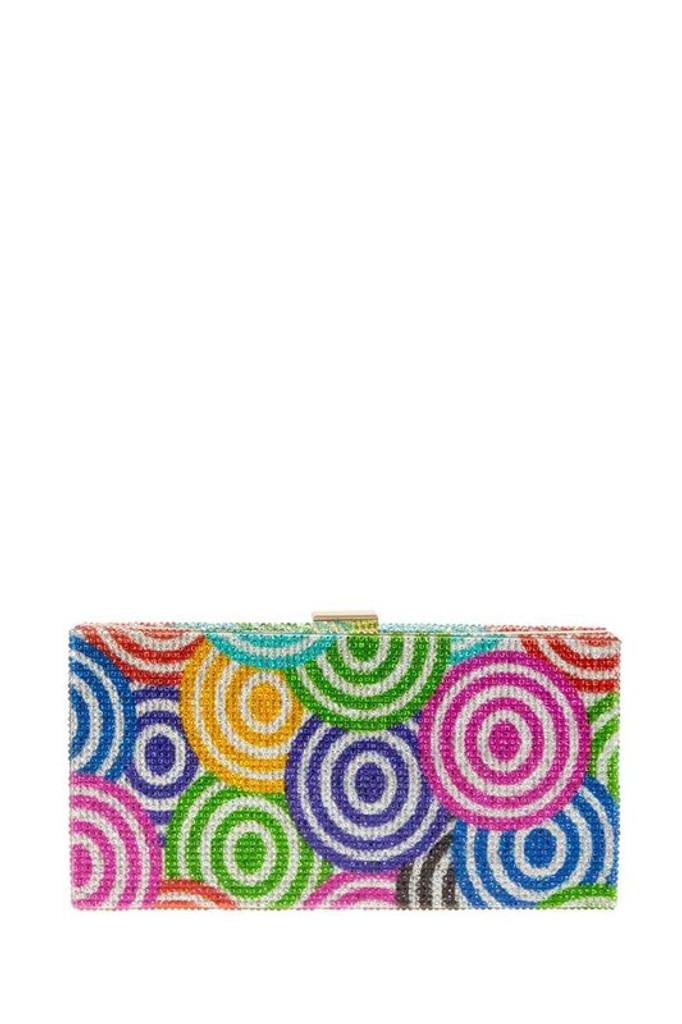 Taina Swirl Multicolor Rhinestones Clutch Bag