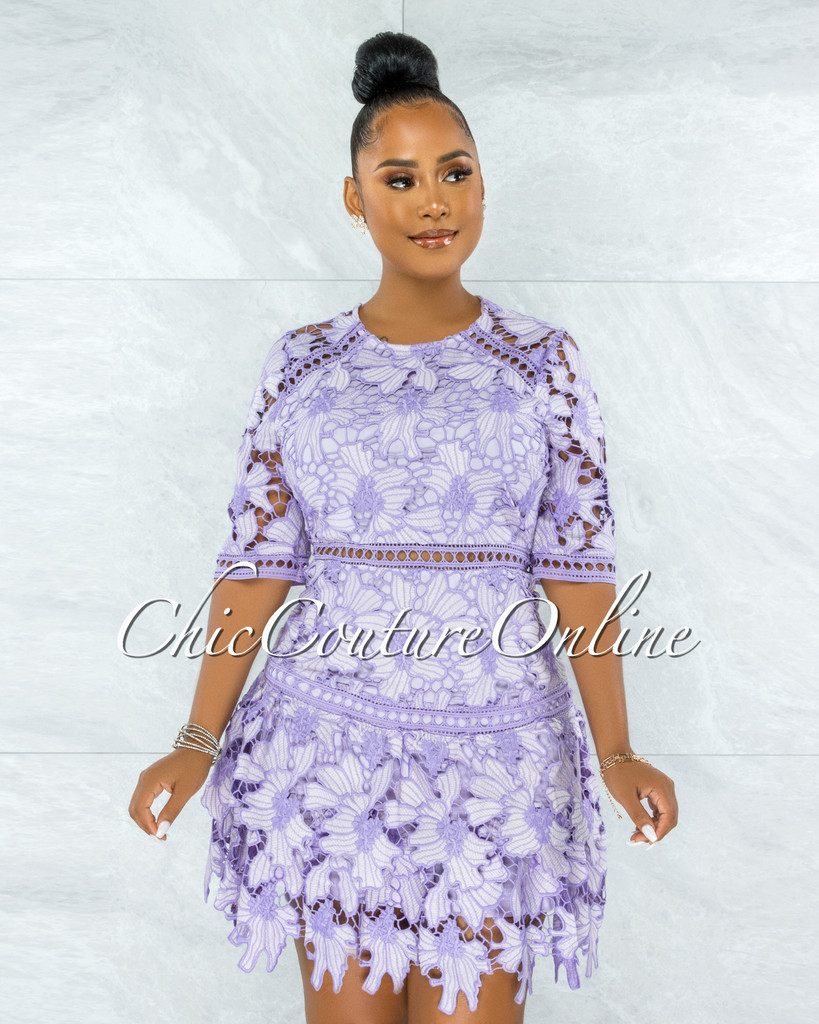 Griselda Lavender Crochet Embroidery Ruffle Skater Dress