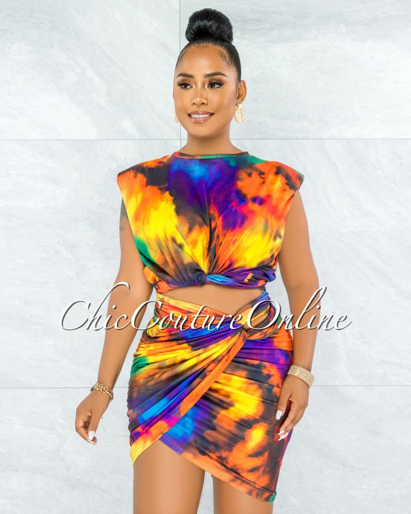 Coppeland Multi-Color Tie-Dye Padded Shoulder Top & Skirt Set