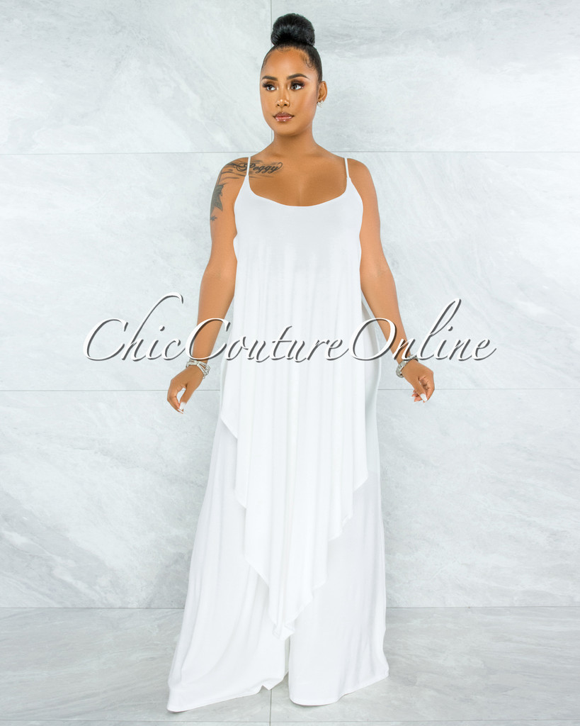 Runa Off-White Long Overlay Crop Top & Wide Legs Pants Set