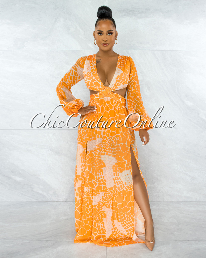 Extany Orange Crem Print O-Ring Maxi Bodysuit Dress