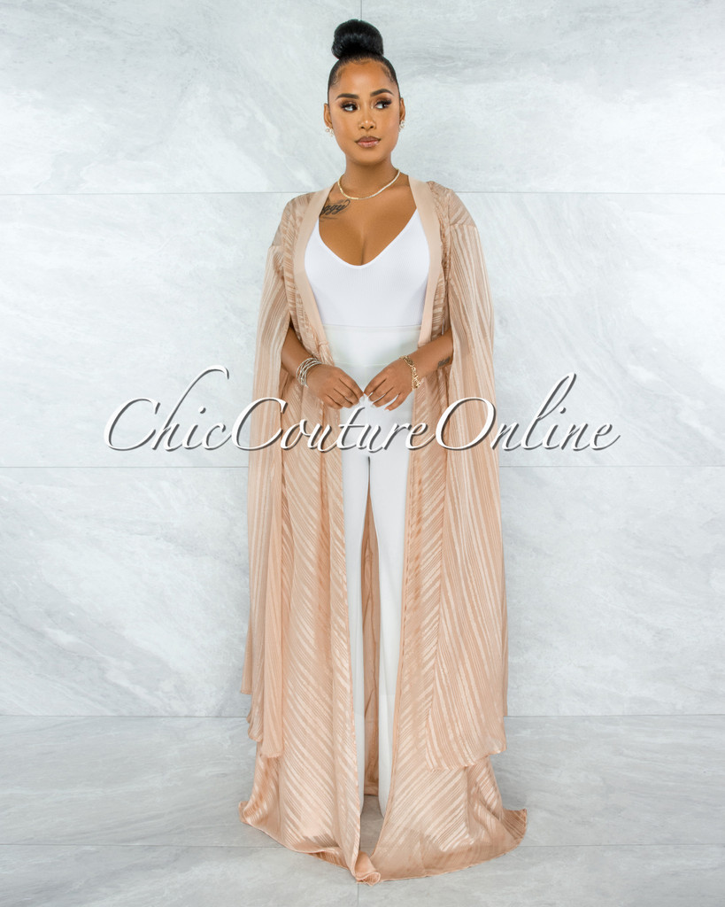 Gaszi Taupe Gold Shimmer Wide Sleeves Luxe Duster