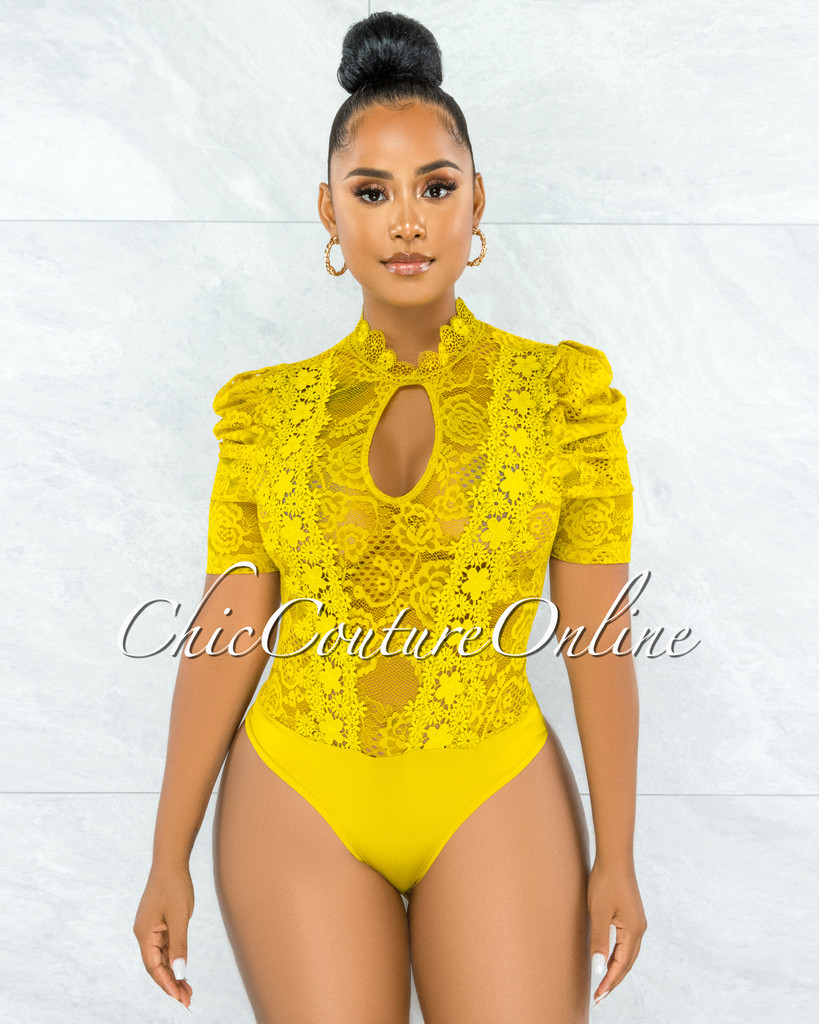 Gavin Lime Green Lace See-Through Bubble Sleeves Bodysuit