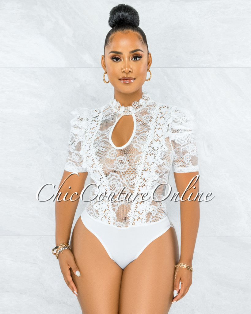 Gavin White Lace See-Through Bubble Sleeves Bodysuit
