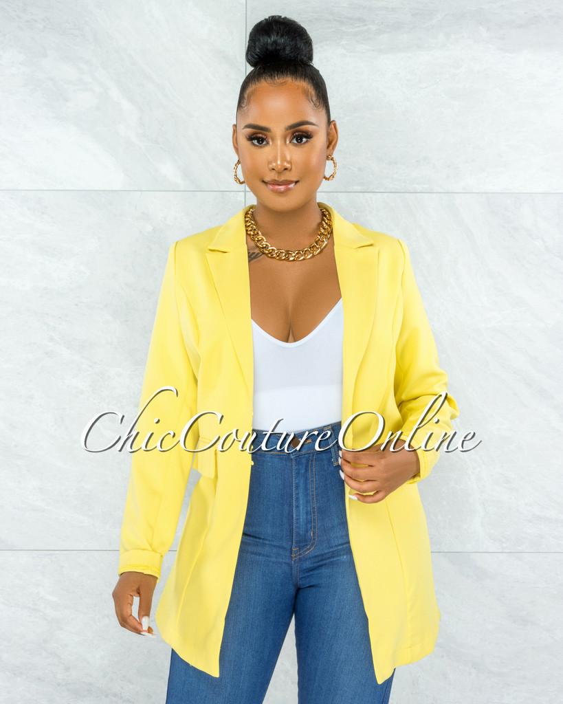 Garton Yellow Front Buttons Long Blazer
