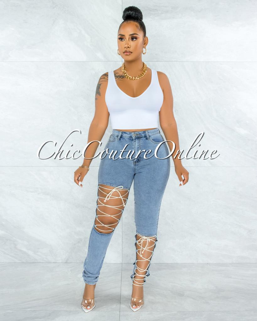 Hanson Light Denim White Lace-Up Jeans