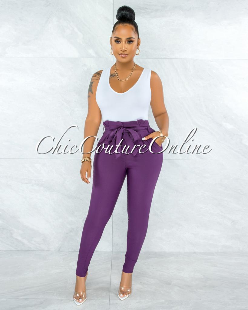 Jarrett Purple Pleated Paper Bag Tie Belt Pants
