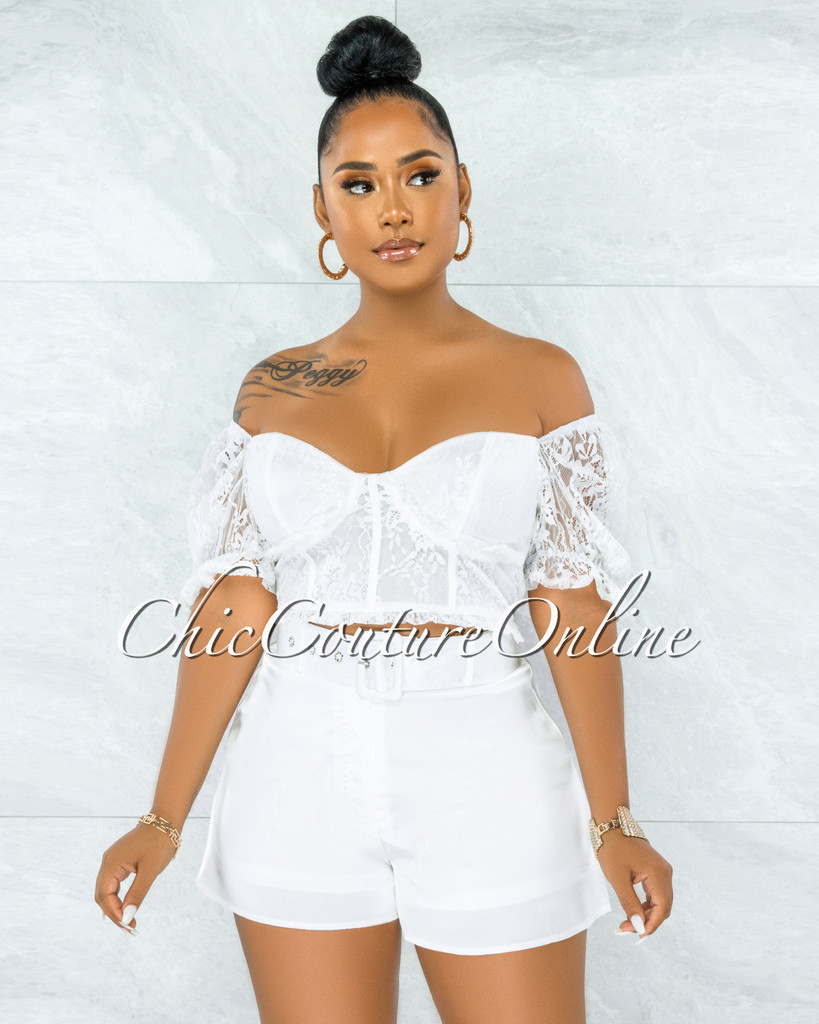Olney White Lace Top & Belted Satin Shorts Set