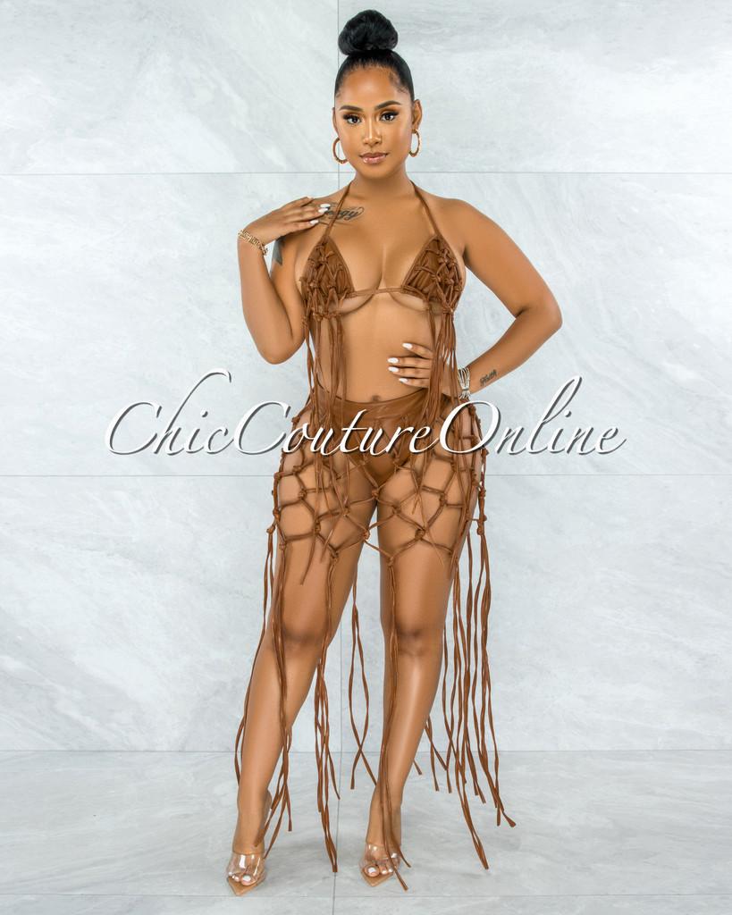 Redwald Camel Faux Leather Lattice Fringe Top & Bikini Set