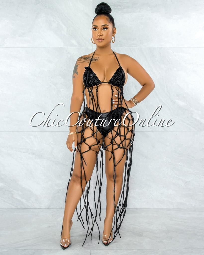Redwald Black Faux Leather Lattice Fringe Top & Bikini Set