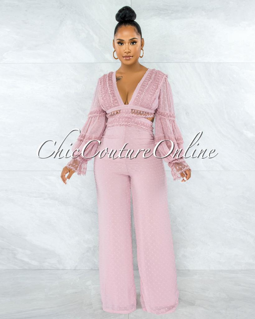 Rigel Dusty Pink Crochet Back Lace-Up Jumpsuit