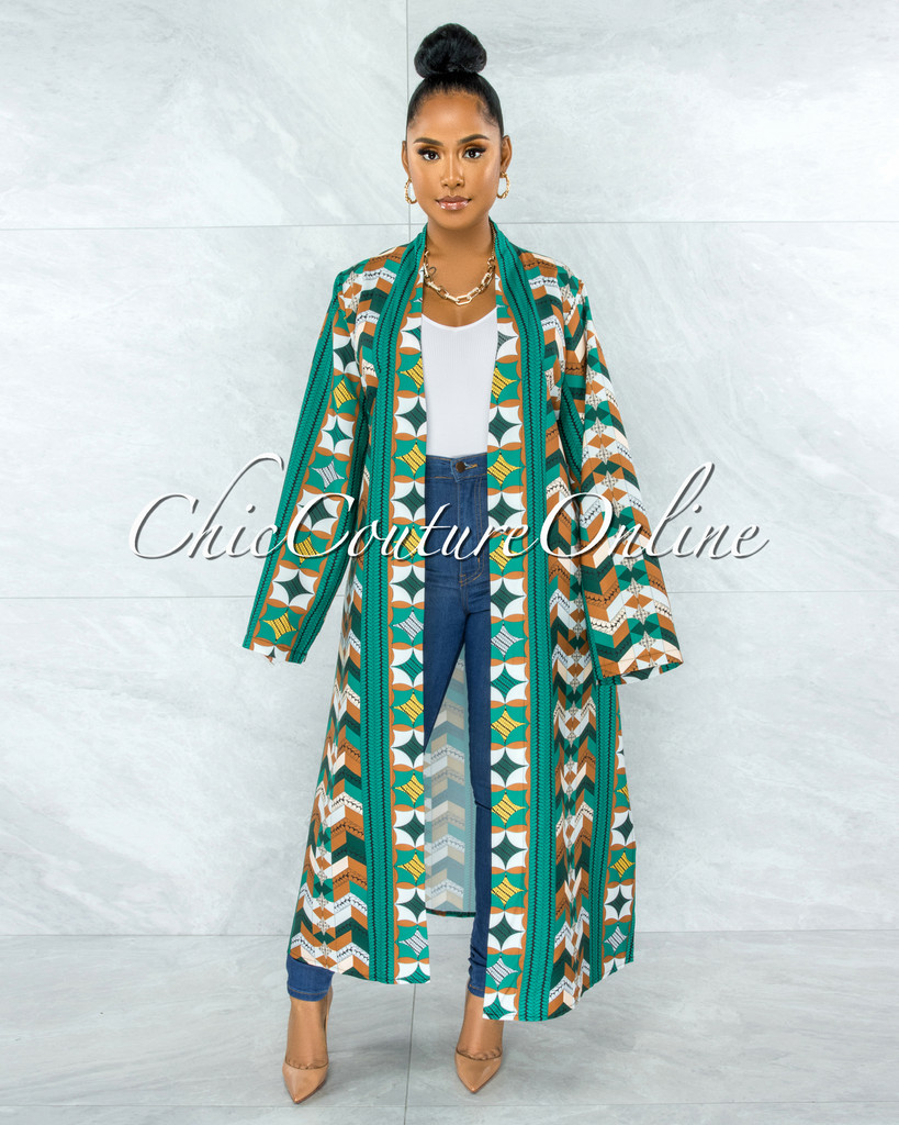 Prudence Green Camel Print Wide Sleeves Duster